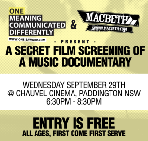 A Secret Film Screening Of A Music Documentary | ONE MEANING